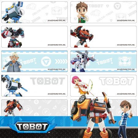 貼貼人_機器戰士TOBOT(4.6 x 1.5) 姓名貼紙 + 送精美授權 Mini 夾